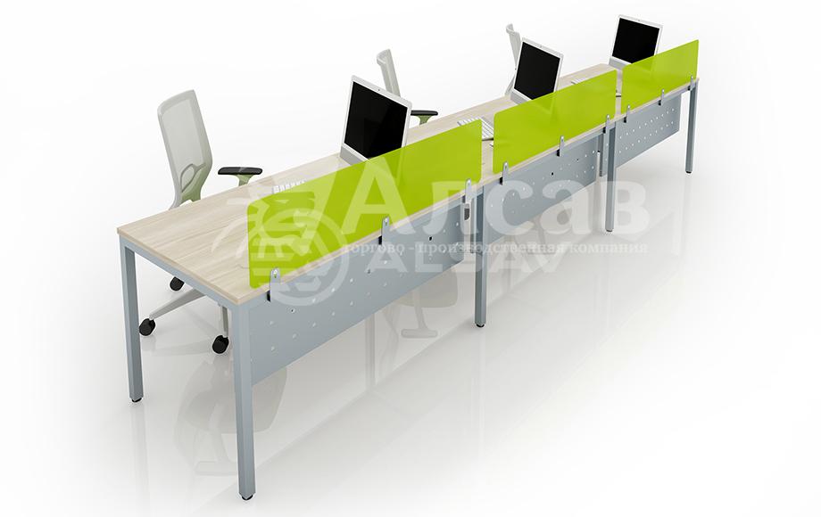 Модульная система Bench для линейных столов. Офисные перегородки, мебель для персонала, офисная мебель производитель, столы на металлокаркасе, бенч-система, бенч столы, AVANCE, Аванс, шимани светлый