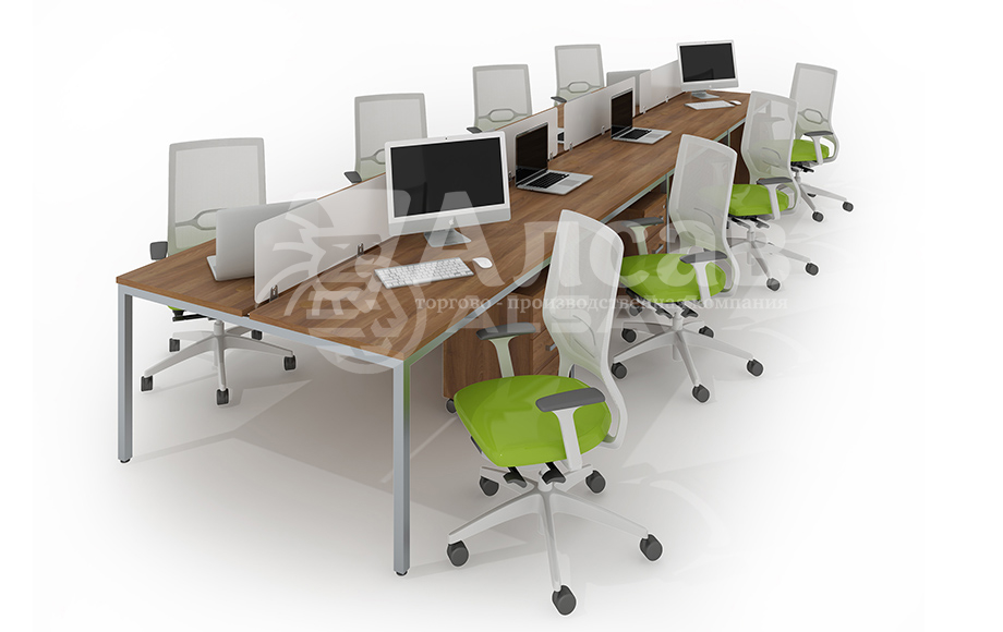 Модульная система Bench для сдвоенных столов. Офисные перегородки, мебель для персонала, офисная мебель производитель, столы на металлокаркасе, бенч-система, бенч столы, AVANCE, Аванс, шимани темный