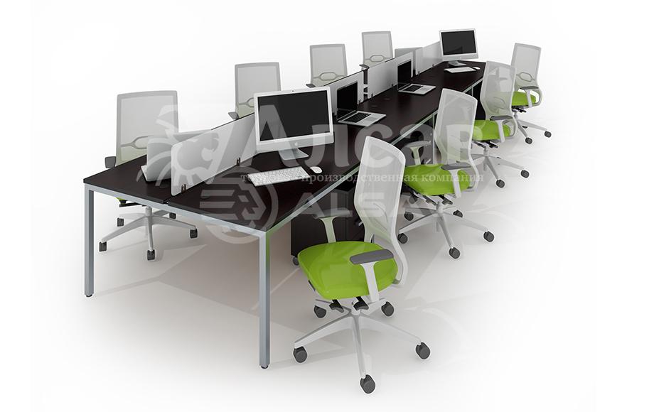 Модульная система Bench для сдвоенных столов. Офисные перегородки, мебель для персонала, офисная мебель производитель, столы на металлокаркасе, бенч-система, бенч столы, AVANCE, Аванс, венге