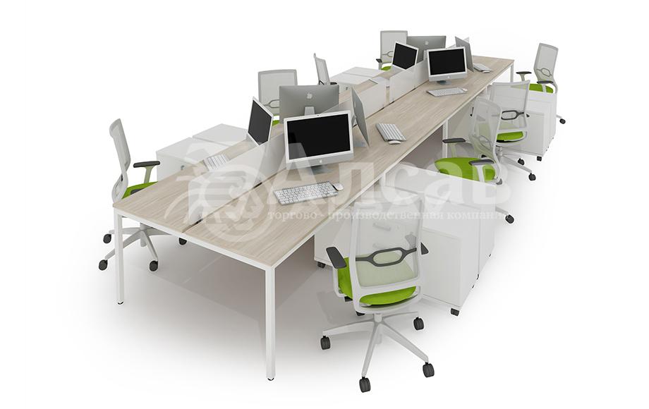 Модульная система Bench для сдвоенных столов. Офисные перегородки, мебель для персонала, офисная мебель производитель, столы на металлокаркасе, бенч-система, бенч столы, AVANCE, Аванс, шимани светлый